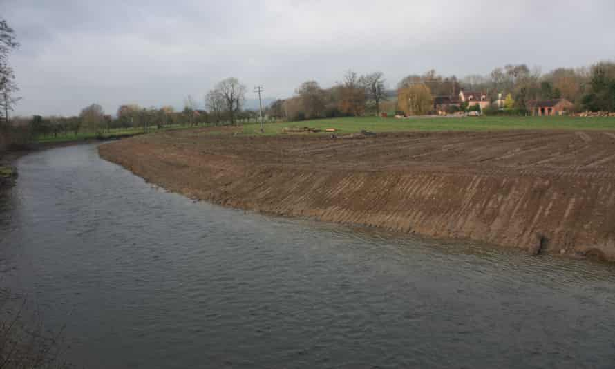 Photograph issued by Herefordshire Wildlife Trust of damage caused to the River Lugg.