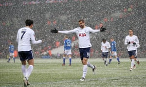 Fernando Llorente (right) celebrates his hat-trick with Son Heung-min against Rochdale.