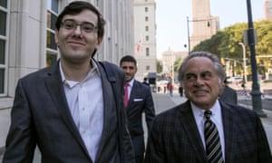 Former drug company executive Martin Shkreli and his lead attorney, Benjamin Brafman.