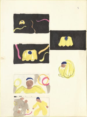 Sally Jacobs' storyboard sketches for a film version of Peter Brook's RSC production of A Midsummer Night's Dream, 1971.
