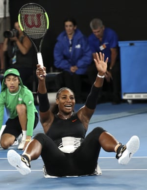 Serena Williams celebrates after defeating her sister Venus.
