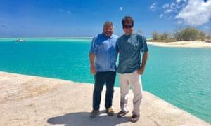 Russian businessman Anton Bakov (left) and Kiribatian MP Emil Schutz in Kiribati.