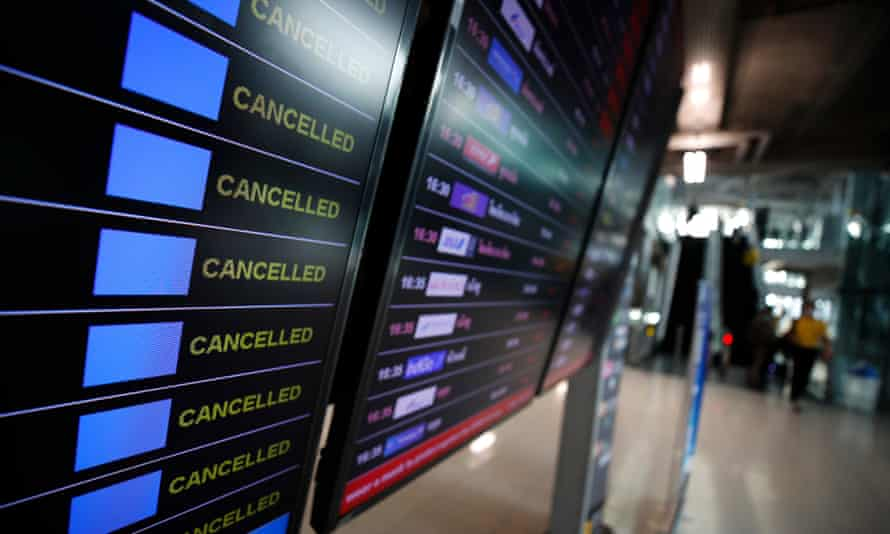 View of a board showing cancelled flights