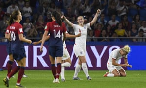 England's players celebrate as the final whistle goes.