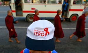 A woman pictured during a march in the run-up to World Aids Day, in Yangon, 2013