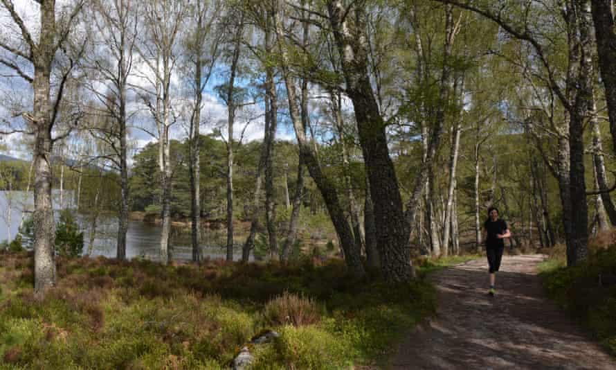 Jen Benson running on a path by Loch an Eilein.