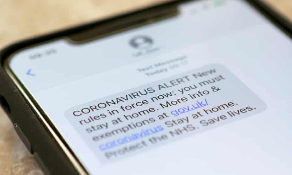 A text message on coronavirus sent by the UK government