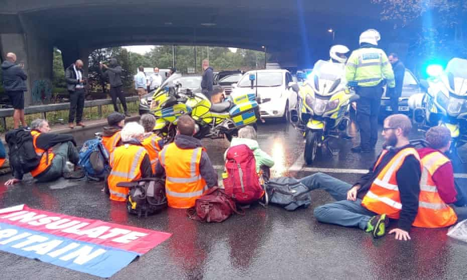 Protesters from Insulate Britain blocking  a roundabout at Junction 3 of the M4 near Heathrow, west London last Friday.