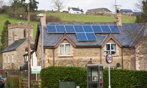 Solar panels in Clyro Powys, Wales
