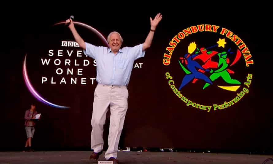 Attenborough on the Pyramid stage at Glastonbury.