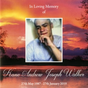 Memorium card from the funeral of Kane Walker