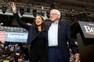 Durham, US Democratic presidential candidate senator Bernie Sanders takes the stage with Representative Alexandria Ocasio Cortez at a campaign rally and concert one day before the New Hampshire presidential primary election