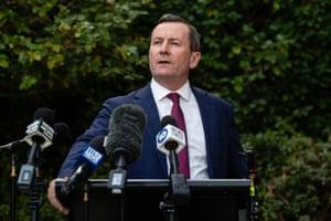 WA Premier Mark McGowan provides a COVID-19 update during a press conference in Perth.