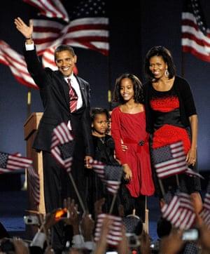 Barack Michelle Obama 2008 election win