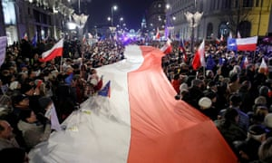 Protesters outside Poland's Presidential Palace in Warsaw.
