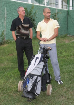 Johan Cruyff with Pep Guardiola at the 2006 ProAm Mallorca Classic golf.