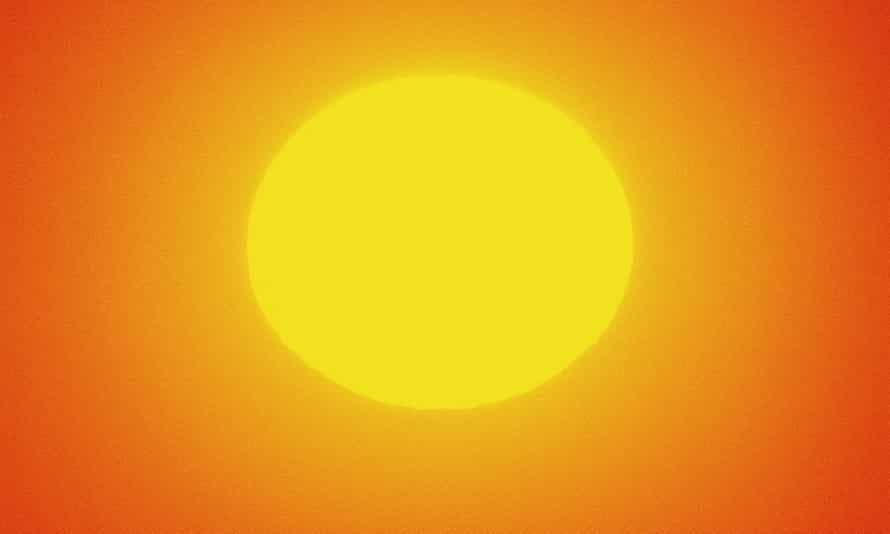 Blazing hot sun in sky