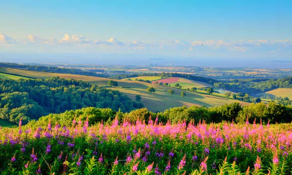 The Quantock hills in Somerset, looking towards the site of Hinkley Point