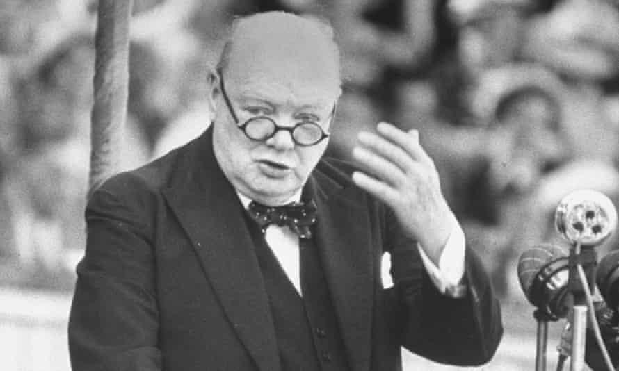 Winston Churchill speaking at Wolverhampton football field in 1949