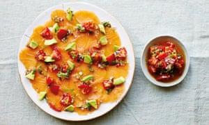 Chilli-cured salmon, avocado and tomato.