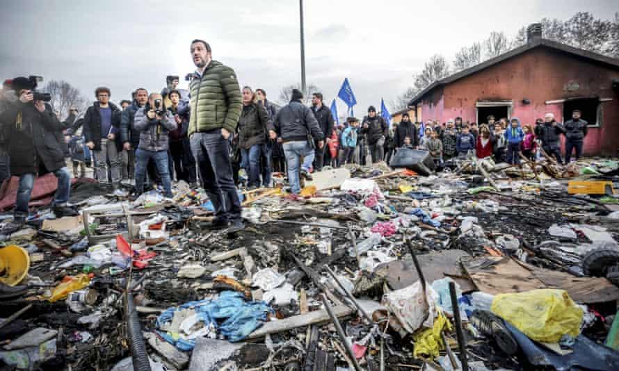 Salvini visiting a Roma camp in Turin in February.