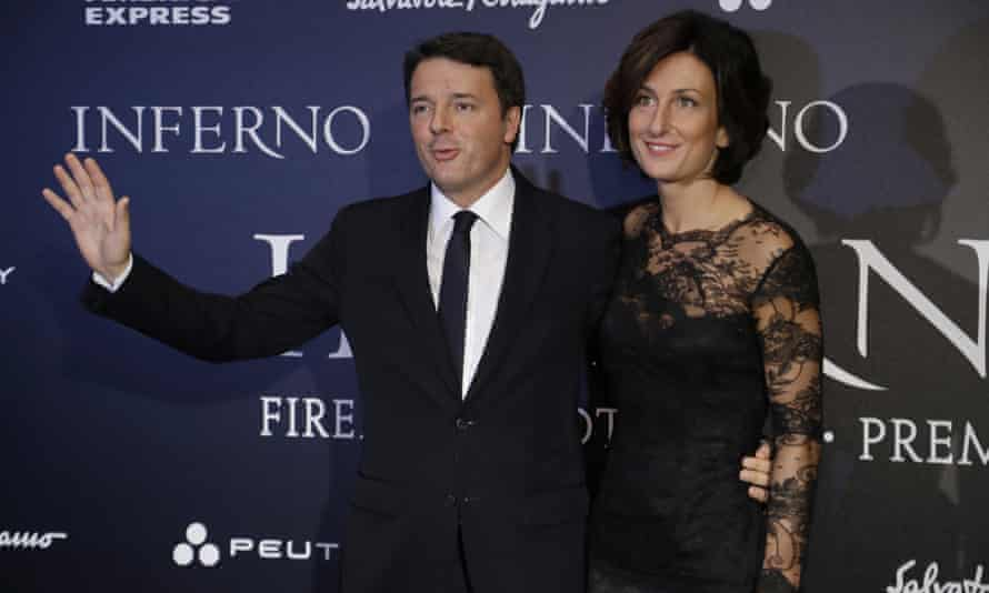 Matteo Renzi and his wife Agnese Landini arrive for the premiere of Inferno, based on a novel by Dan Brown, in Florence earlier this month.