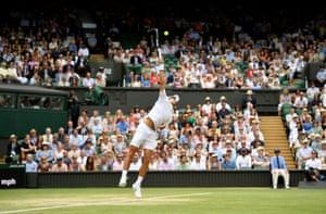 Novak Djokovic serves to start the match.