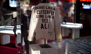 A Muhammad Ali robe on display at an exhibition at the O2 arena in London.