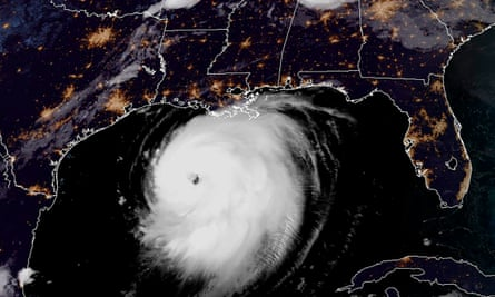 A satellite image shows Hurricane Laura moving north-west in the Gulf of Mexico towards Louisiana on Wednesday.