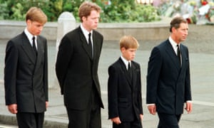 (From left) Prince William, Earl Spencer, Prince Harry and Prince Charles during the funeral procession