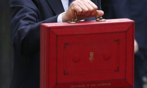 Philip Hammond holds his red budget box.