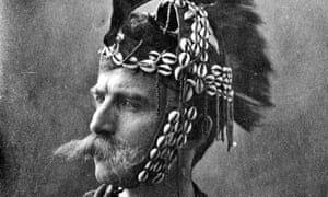 Henry Wellcome in costume as warrior in 1885.