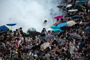 Police fire teargas at pro-democracy protesters in Hong Kong in September 2014