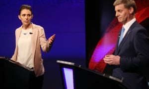 Jacinda Ardern and Bill English during the leaders' debate in Auckland