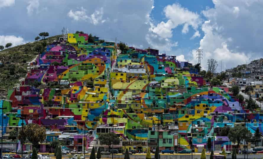 The painted neighbourhood in Pachuca, Mexico.
