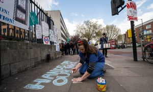 A&E junior doctor Lisa Wallberg outside King's College hospital in London during the strike.
