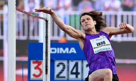 """Russia's Ivan Ukhov, who won gold in London, competes in the men's high jump at a track and field meet called """"Stars of 2016"""" in Moscow on 28 July, 2016. The event hosted athletes who have been banned from the Rio Olympics over evidence of state-sponsored doping and mass corruption in the sport."""