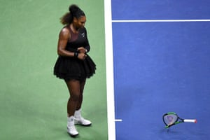 Serena Williams smashes her racket during the women's final against Japan's Naomi Osaka at the 2018 US Open.