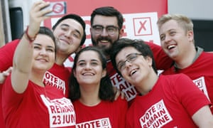 Young remain campaigners pose for a selfie.