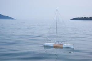 Protei, an autonomous sailing ship that cleans up oil spills, 2014.