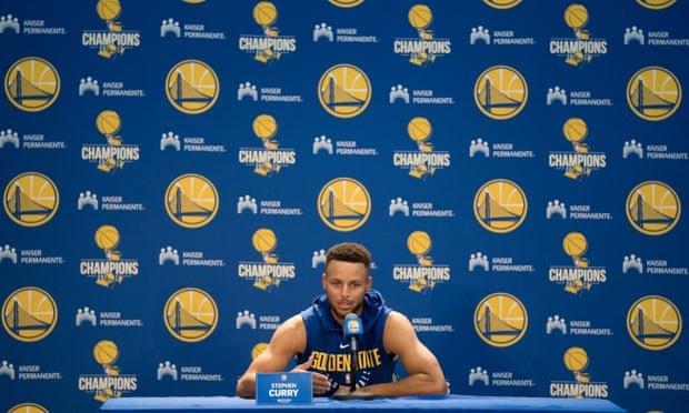Stephen Curry speaks to the press on Friday.