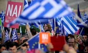Supporters of the yes campaign attend a rally in Athens on Friday.