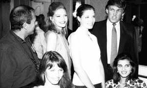 Donald Trump with contestants in the 1991 Look of the Year competition, the year he was a judge