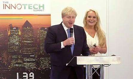 Boris Johnson, with Jennifer Arcuri, guest speaking at the Innotech Summit in July 2013.