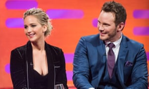 Jennifer Lawrence and Chris Pratt appear on the Graham Norton Show.