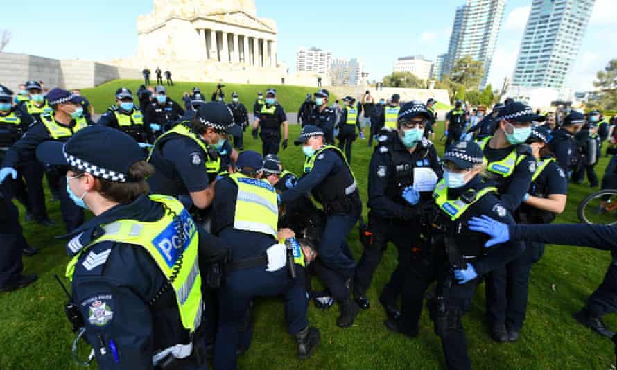 Police outside of the Shrine of Remembrance in Melbourne on Saturday