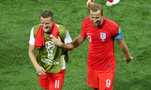 Jamie Vardy (left) will replace Harry Kane (right) against Belgium.