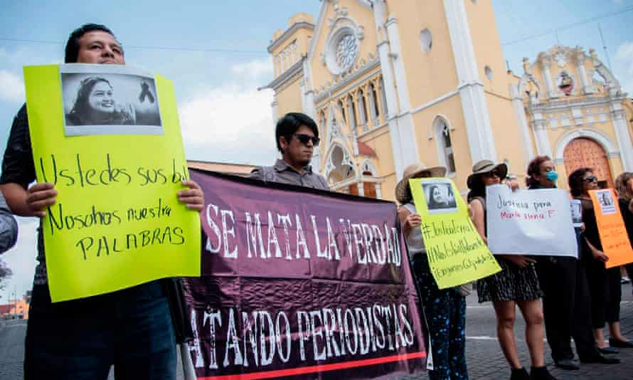 Journalists demonstrate against the murder of another colleague, María Helena Ferral, in Xalapa, Veracruz state, in April.