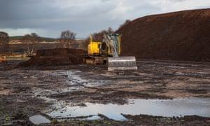 Peat extraction at Hillhouse, Broken Cross Muir, in Lanarkshire, Scotland.