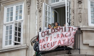 Goldsmiths students occupy Deptford town hall in anti-racism protest.